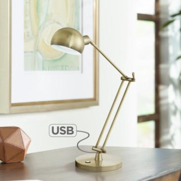 OttLite Refine LED Antique Brass Desk Lamp