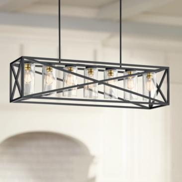 "Kichler Moorgate 48"" Wide Black 7-Light Island Pendant"