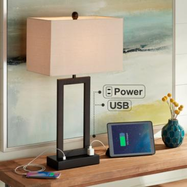Todd Bronze Finish Metal Table Lamp with USB Port and Outlet