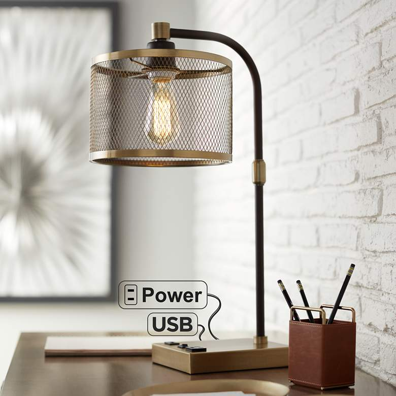 Brody Antique Brass Desk Lamp with USB and