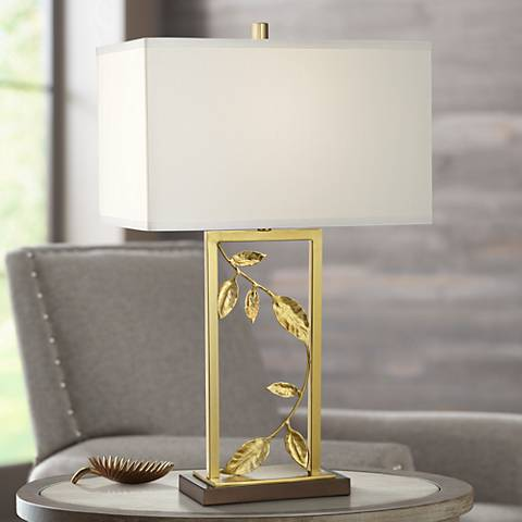 Kathy Ireland Golden Leaves Gold Table Lamp