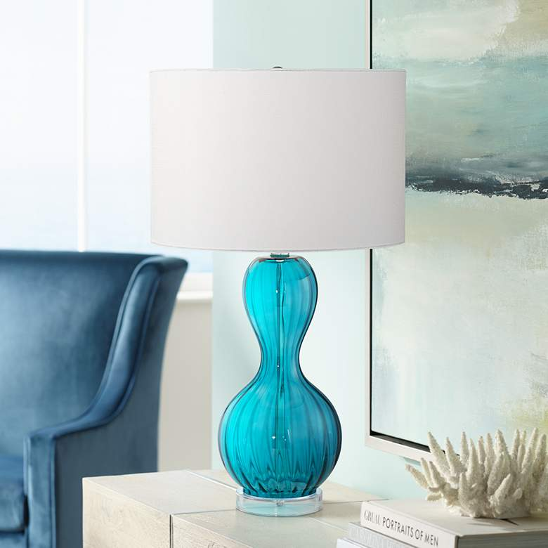 Page Aquamarine Glass Table Lamp