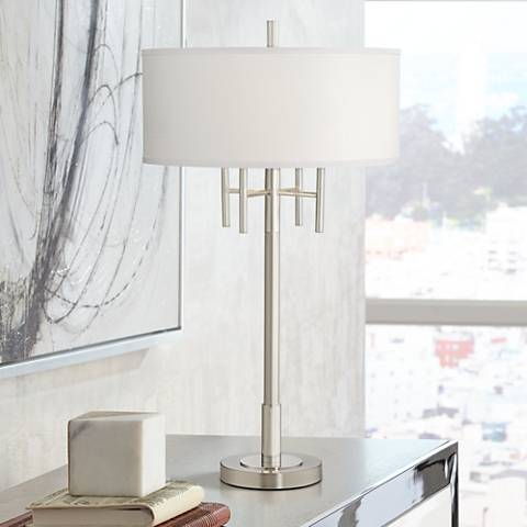 Kathy Ireland Modern Classic Matt Brushed Nickel Table Lamp