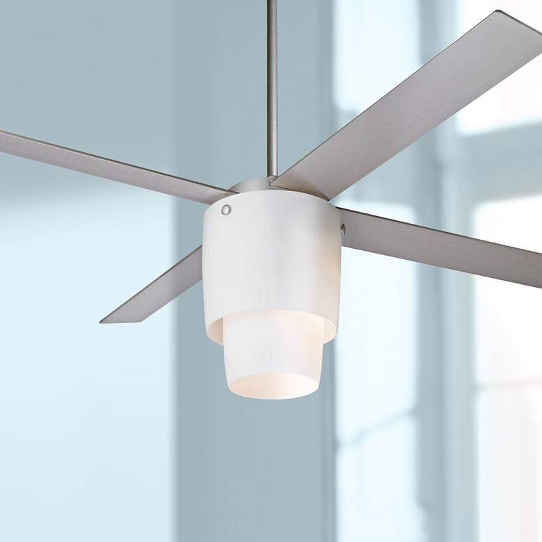 "52"" Modern Fan Halo Textured Nickel LED Ceiling"