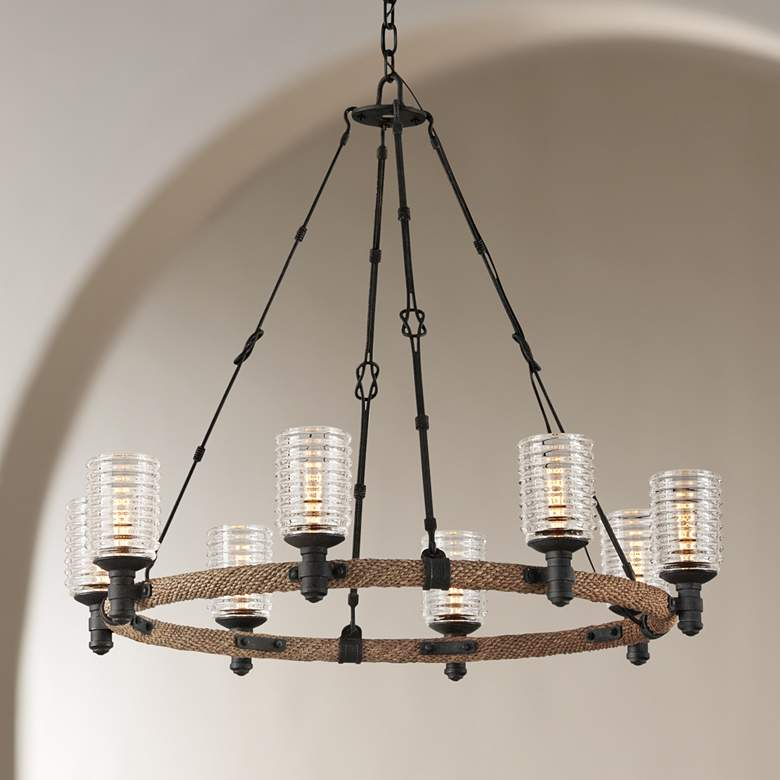 "Embarcadero 30"" Wide Shipyard Bronze 8-Light Chandelier"