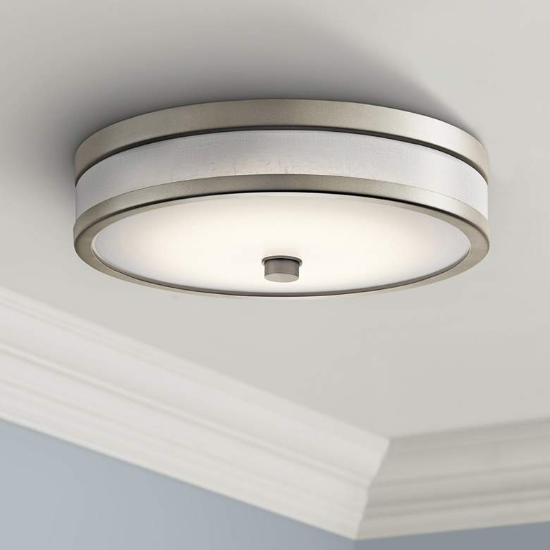 "Kichler Pira 12"" Wide Brushed Nickel LED Ceiling"