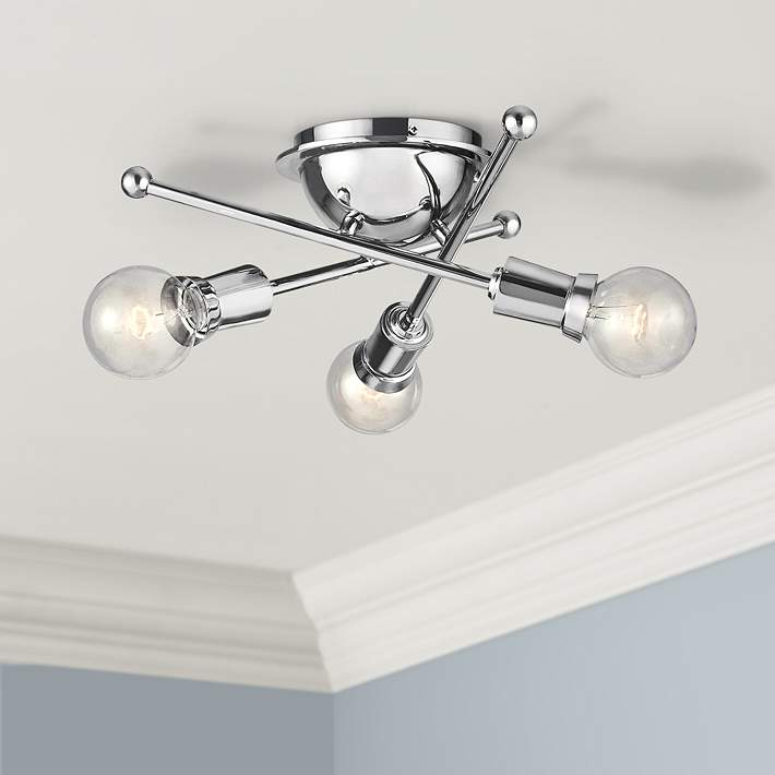 Wide Chrome 3 Light Ceiling