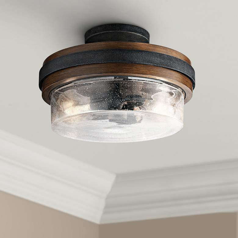 "Kichler Grand Bank 12""W Auburn Stained 2-Light Ceiling"