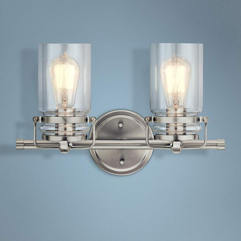 "Kichler Brinley 10"" High Brushed Nickel 2-Light Wall Sconce"