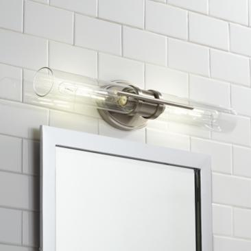 "Abron 24"" Wide Glass and Brushed Nickel LED Bath Bar"