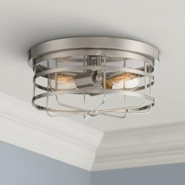 "Tanner 13"" Wide Satin Platinum 2-Light Ceiling Light"