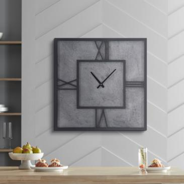 "Wood and Metal Gray 26"" Wide Square Wall Clock"