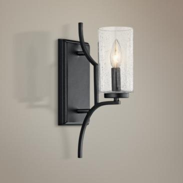 "Kichler Vara 14 1/2"" High Distressed Black Wall Sconce"