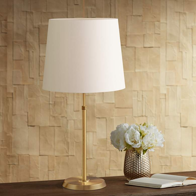 Holtkoetter Brushed Brass Lamp with Satin White Shade
