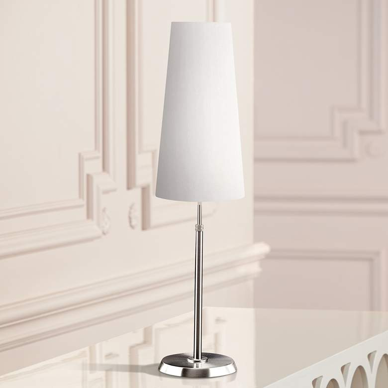 Holtkoetter Satin Nickel Lamp with Slim Satin White Shade