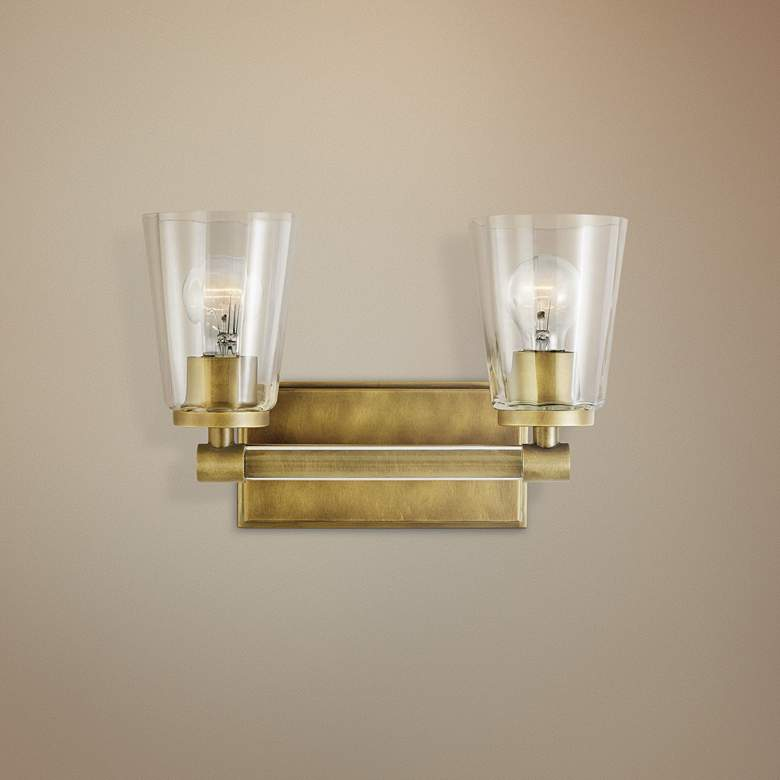 "Kichler Audrea 9 1/2"" High Natural Brass 2-Light Wall Sconce"