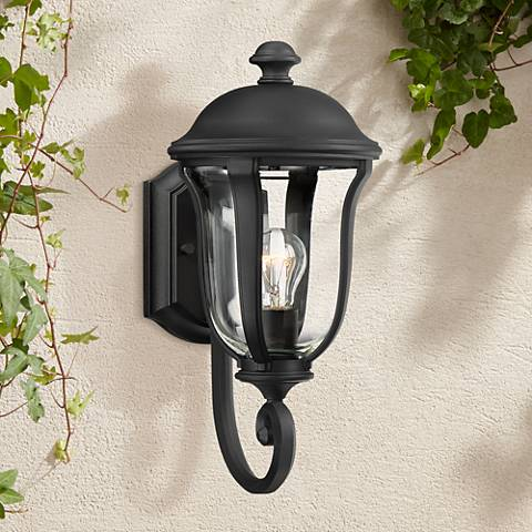 "Park Sienna 15 3/4"" High Black Upbridge Arm Outdoor Light"