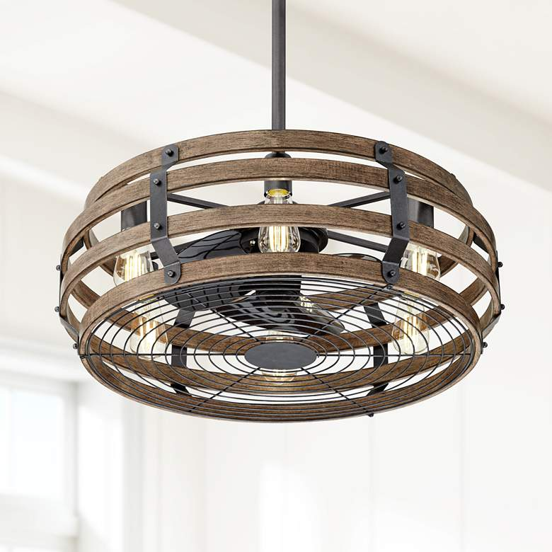 "26"" Casa Vieja Tundra Wood Finish LED Ceiling"