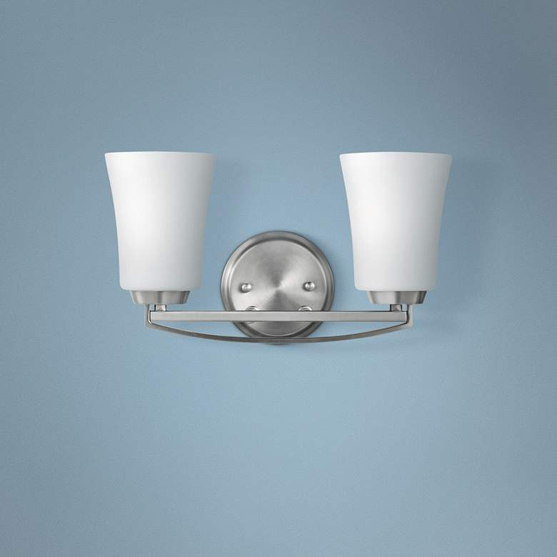 "Kichler Tao 8"" High Brushed Nickel 2-Light Wall Sconce"