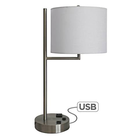 "Wiles 20""H Brushed Nickel Accent Table Lamp with USB Port"