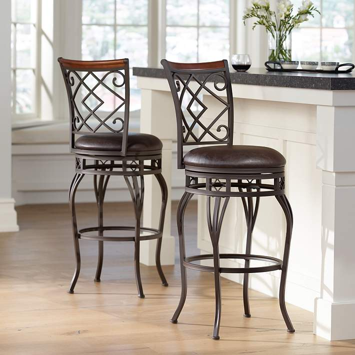 Hartley 30 Wood And Bronze Metal Swivel Bar Stools Set Of 2 44e74 Lamps Plus
