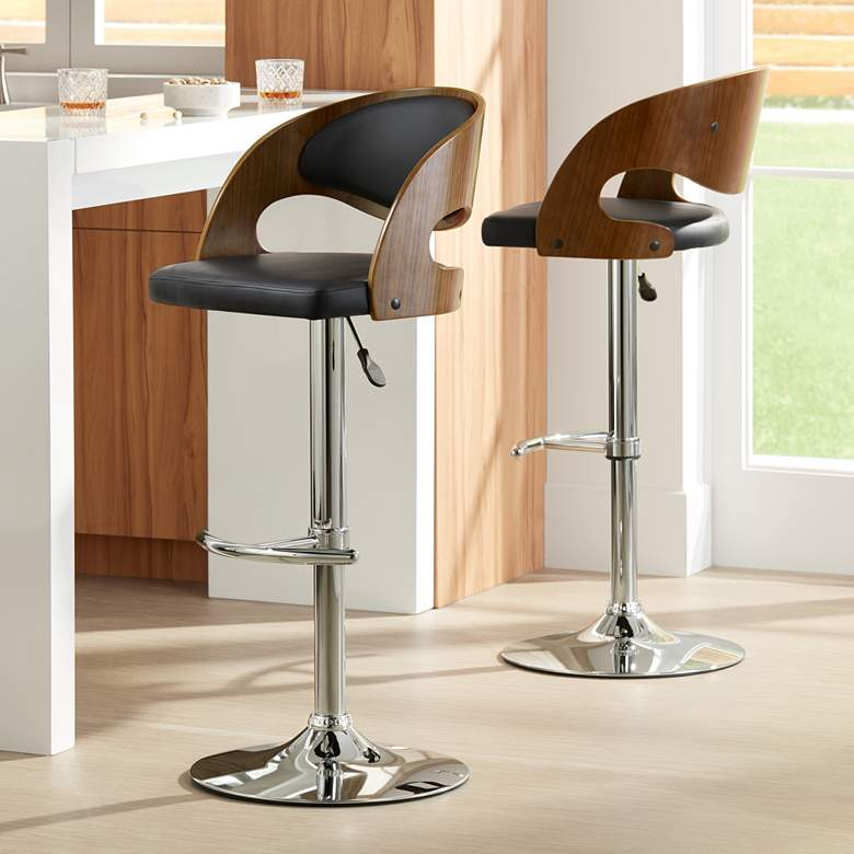 Malibu Black Faux Leather Swivel Bar Stools Set of 2