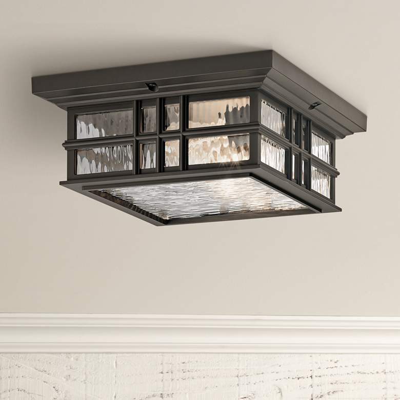 "Kichler Beacon Square 12""W Olde Bronze Outdoor Ceiling"