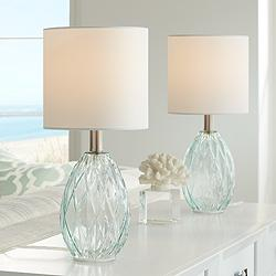 Rita Blue-Green Glass Accent Table Lamp Set of 2
