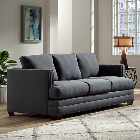 "Zara 91"" Wide Heritage Charcoal Fabric Three-Seat Sofa"
