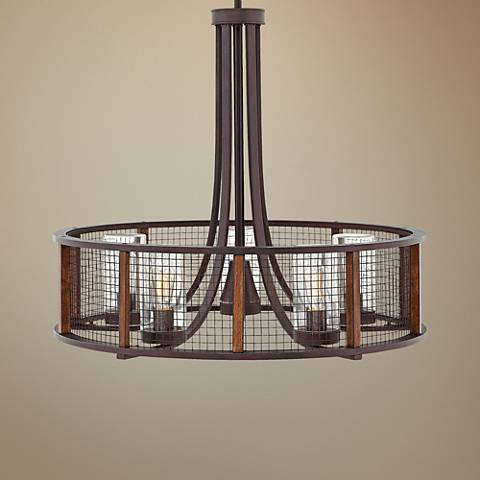 "Hinkley Beckett 30""W Iron Rust 5-Light Outdoor Chandelier"