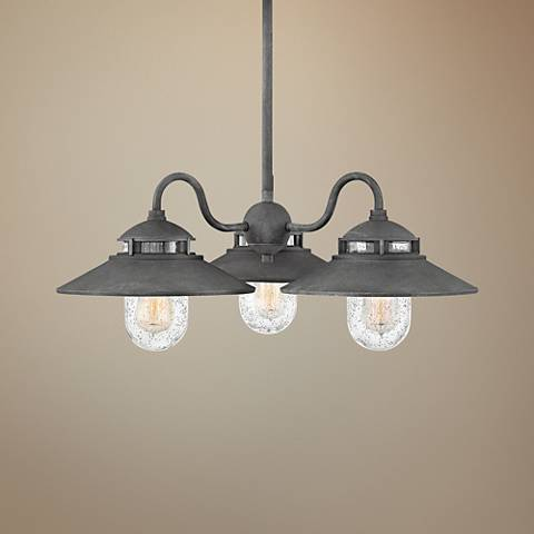 "Atwell 24 1/4"" Wide Aged Zinc 3-Light Outdoor Chandelier"