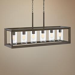 "Rhodes 42 1/4""W Bronze Outdoor Kitchen Island Light Pendant"