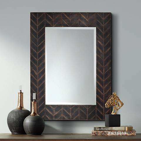 "Destination Black Over Copper 30"" x 40""  Chevron Wall Mirror"