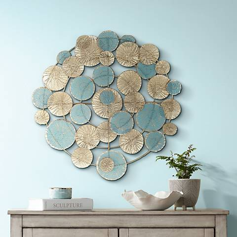 "Myers Blue and Gold 32"" Round Metal Wall Art"