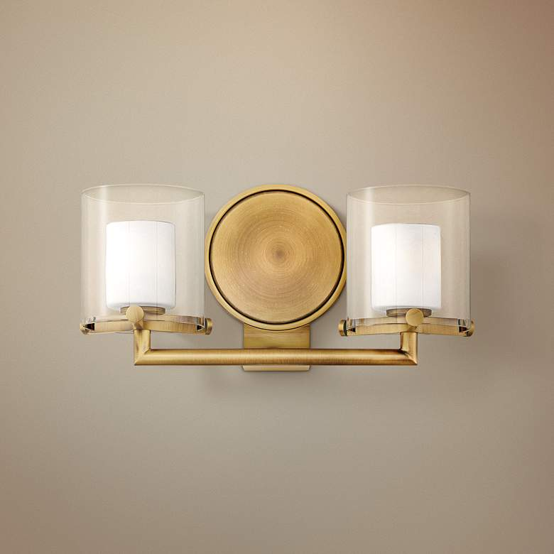 "Hinkley Rixon 7"" High Heritage Brass 2-Light Wall Sconce"