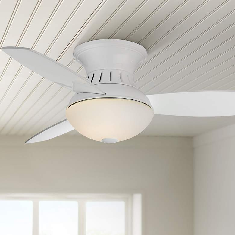 "44"" Possini Encore LED White Hugger Ceiling Fan"