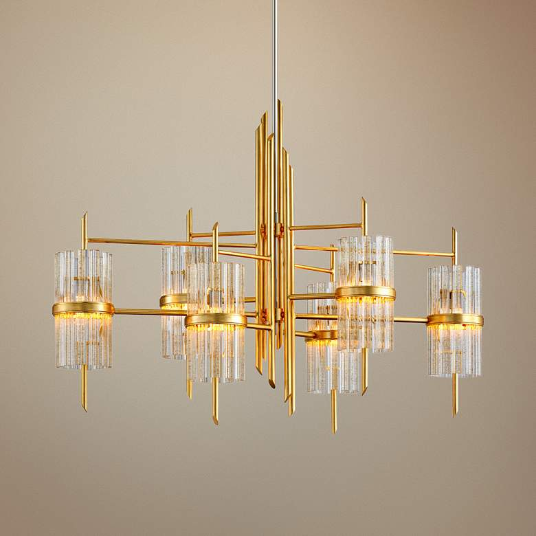 "Corbett Symphony 48"" Wide Gold Leaf 6-Light Chandelier"