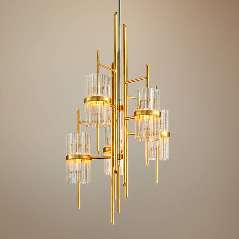 "Corbett Symphony 27"" Wide Gold Leaf 5-Light Chandelier"