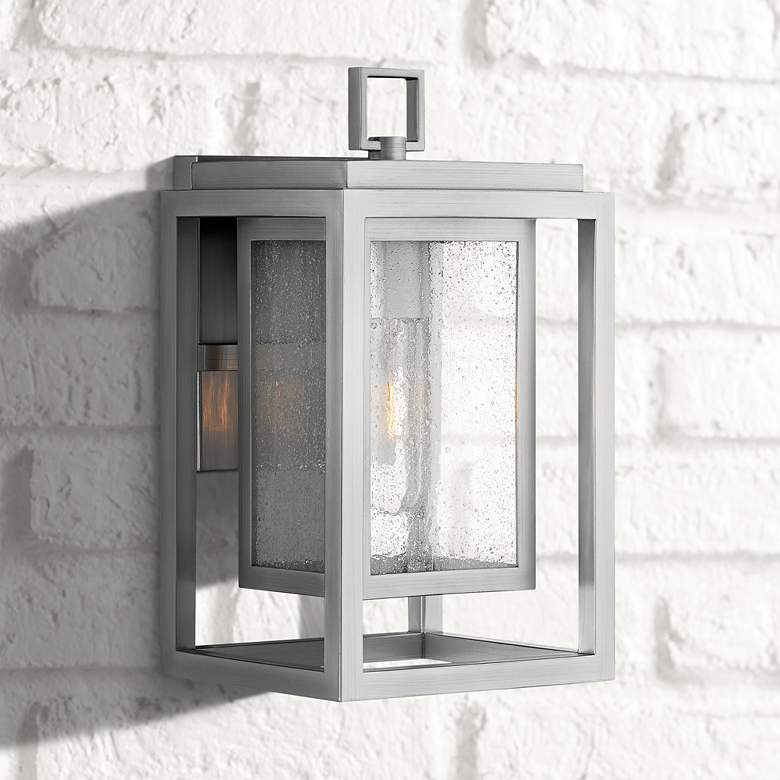 "Hinkley Republic 12"" High Satin Nickel Outdoor Wall Light"