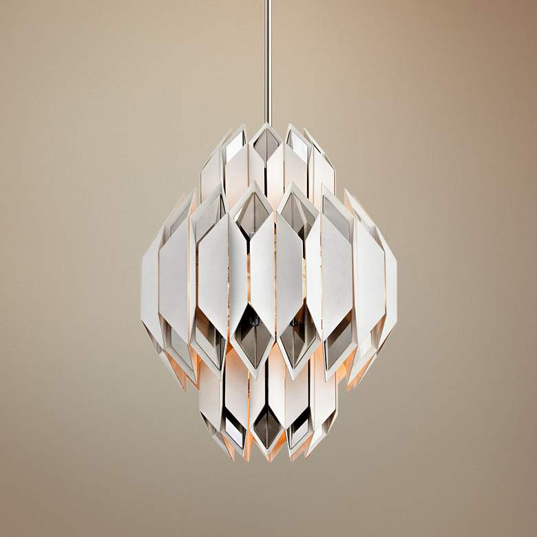 "Corbett Haiku 18"" Wide White Pendant Light"