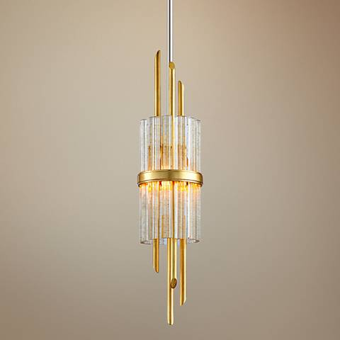 "Corbett Symphony 6 1/2"" Wide Gold Leaf Mini Pendant"