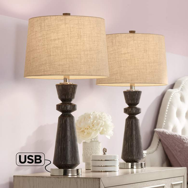 Albert Wood Finish Modern USB Table Lamps Set of 2