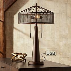 Fredrick Metal Industrial Table Lamp with USB