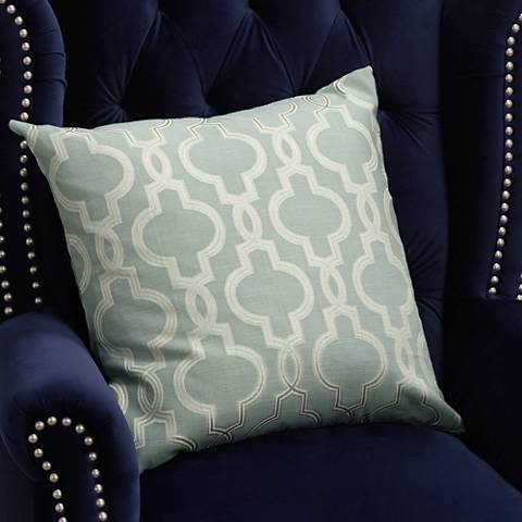 "Vincent Aqua Woven 20"" Square Decorative Pillow"
