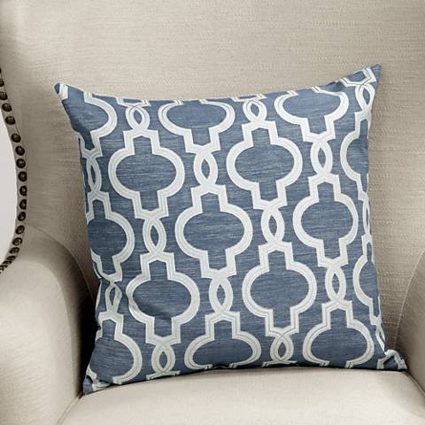 "Vincent Navy Woven 20"" Square Decorative Pillow"