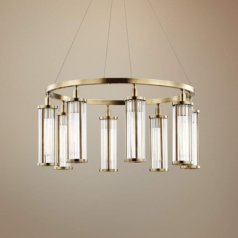 Hudson Valley Marley 30 Wide Aged Br 8 Light Pendant