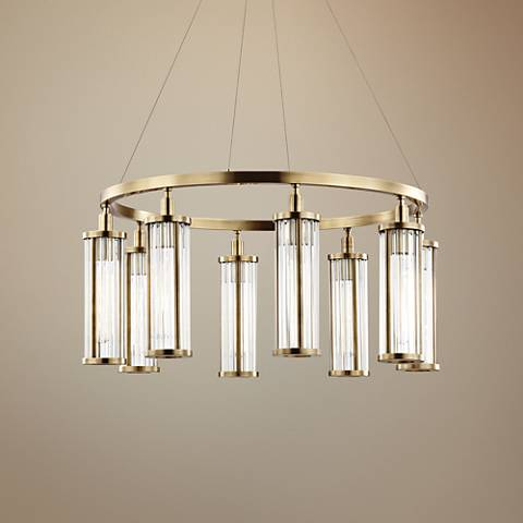 "Hudson Valley Marley 30"" Wide Aged Brass 8-Light Pendant"