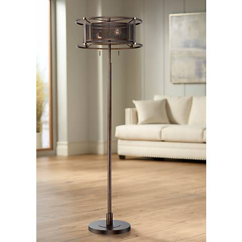 Franklin Iron Works Derek Floor Lamp with Metal Mesh Shade