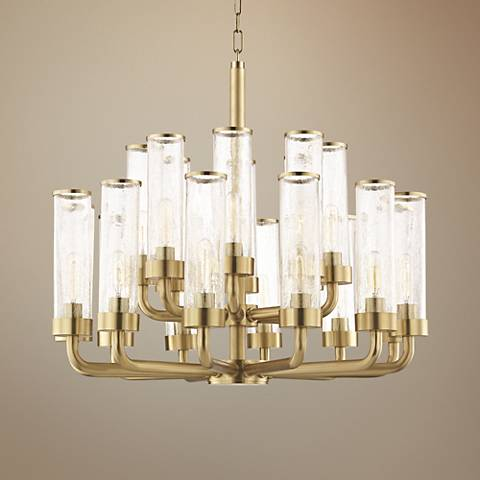 "Hudson Valley Soriano 32""W Aged Brass 20-Light Chandelier"