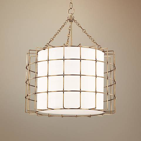 "Hudson Valley Sovereign 24""W Aged Brass LED Pendant Light"